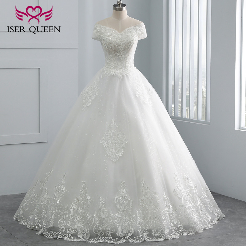 Charming Beading v Neck Cap Sleeve Embroidery Tulle Wedding Dress Ball Gown New 2019 Custom Made