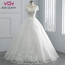 فستان زفاف أبيض بأكمام كاب مطرز بالخرز الساحر برقبة على شكل حرف v موديل 2020 مصنوع حسب الطلب فساتين زفاف WX0107