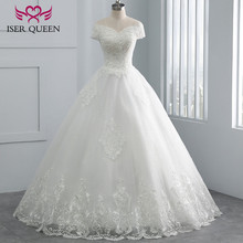 キャップスリーブ刺繍チャーミングビーズ v ネック白のウェディングドレス 2020 カスタムメイドの夜会服のウェディングドレス WX0107