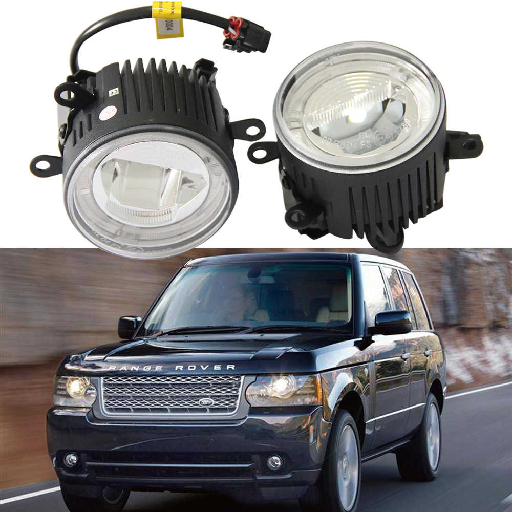 E4 Approved For LAND ROVER Range Rover Mk3 Freelander 2 LF Discovery LED Fog Lamp 9CM Daytime Running Light DRL Driving Light dsycar 1pair car styling steering wheel zinc alloy shift paddles for land rover aurora freelander discoverer range rover jaguar