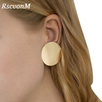 RscvonM 2018 NEW Gold Glossy Round Earrings Hoop Smooth Earrings Simple Style Ears Clear Circle Charm Earrings For Women