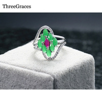 Vintage Design Accessories White Gold Plated CZ Diamond Micro Pave Natural Green Stones Engagement Ring For