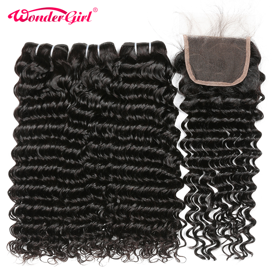 Deep Wave Bundles With Closure 4 Pcs 100% Peruvian Human hair Bundles With Closure Wonder girl Remy Hair Bundles No Shedding