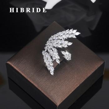 33c8aa0564a5 Hibride belleza hoja forma cúbicos zirconia oro blanco de color mujeres  anillo de dedo ajustable abierto anillos para la demostración del partido r -197