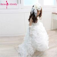 Little Flower Girl Dresses with Pleat Ruffles Appliques Sleeveless Organza Bow Ball Gown White Flower Girl Dress Train Lovely