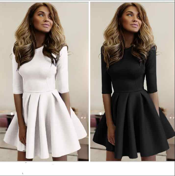 New 2018 Sweet Short Sleeve O -Neck Women Bubble Cute Dress Fashion Summer Dress Club Party Dresses For Women Clothing Vestido