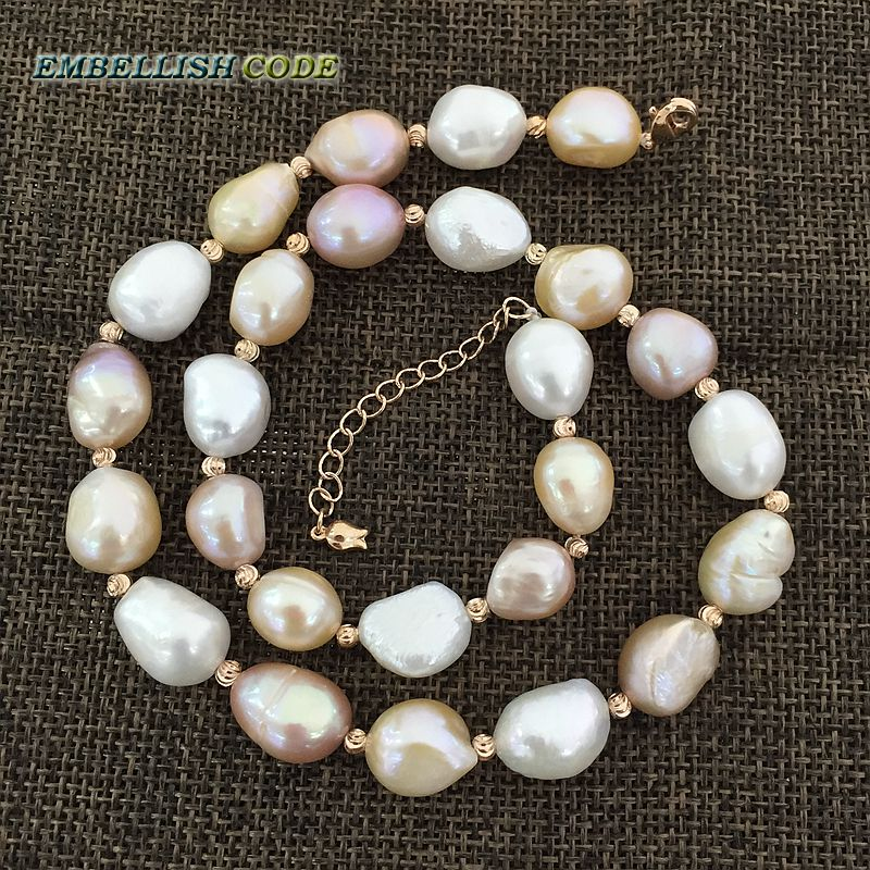 special semi baroque irregular pearl Rose Golden beads necklace Mixed color white pink purple stely freshwater pearls for women