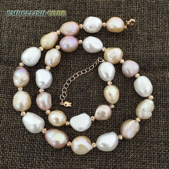 2c0337da91d6 Especial semi barroca irregular Perla Rosa oro collar de perlas Mezcla  color blanco rosa púrpura stely