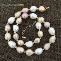 Special Semi Baroque Irregular Pearl Rose Golden Beads Necklace Mixed Color White Pink Purple Stely Freshwater