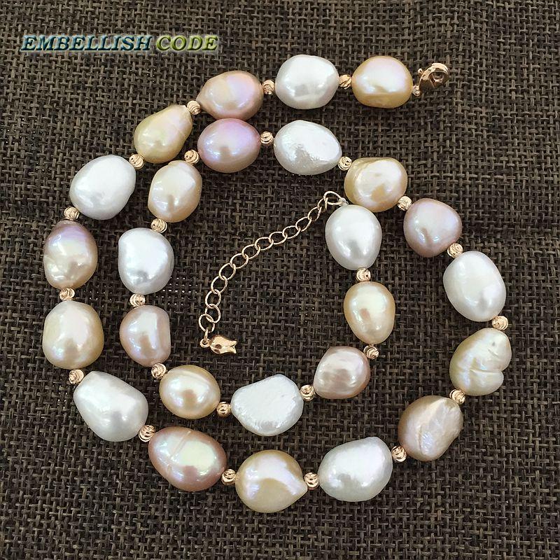 speciální polo barokní nepravidelná perla Rose Golden korálky náhrdelník Smíšená barva bílá růžová fialová nádherná sladkovodní perly pro ženy