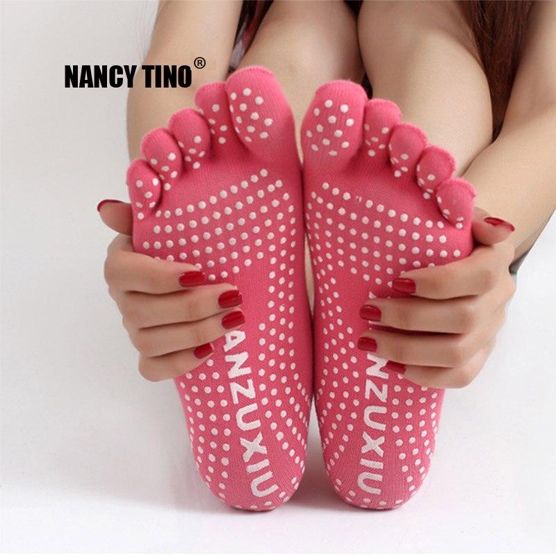 @1  NANCY TINO Женщины Yoga Toes Socks Тренажерный зал Танец Спортивные Упражнения Пять Пальцев Носки Не ①