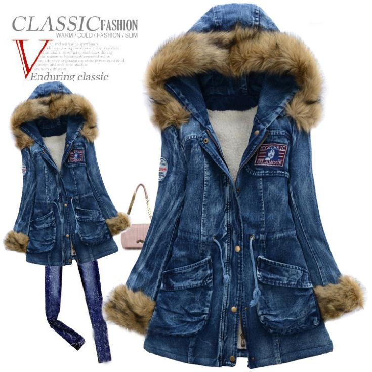 ФОТО 2015 Winter Jacket Women Parka With Large Fur Collar Slim Denim Cotton Wadded Jacket Women Thickening Overcoat