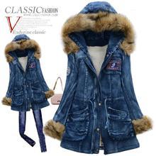 2015 Зимняя Куртка Женщины Куртка С Большой Меховой Воротник Тонкий Деним Ватные Куртки Женщины Утолщение Пальто