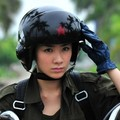 Cool ! TK Chinese Military Air Force Jet Pilot Open Face Motorcycle Green Helmet & Visor SIZE L