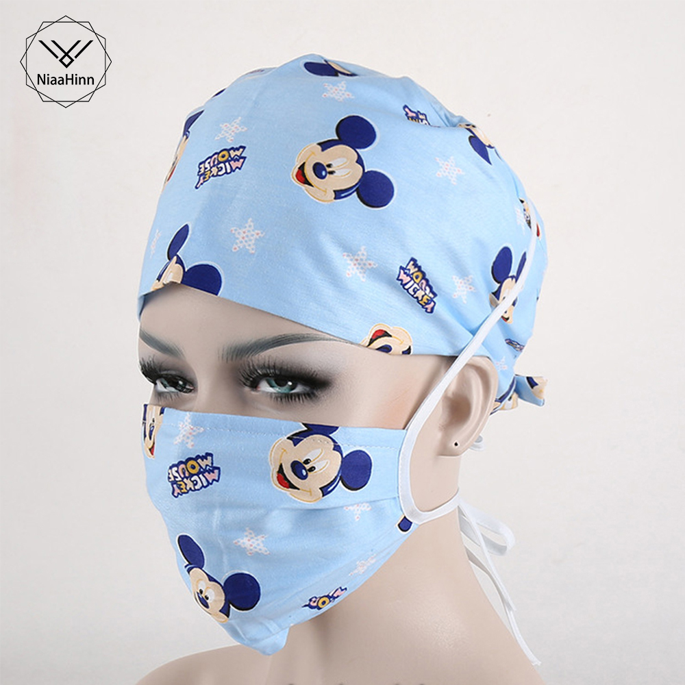 Cartoon Printed Doctor Nurse Work Caps  Adjustable Dentist Medical Accessories Surgical Cap Medicine Facial Scrub Hats