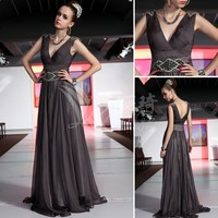 Free Shipping 2013 Deep V Neck Long Coffee Fashion Design Mother Of The Bride Dresses Evening