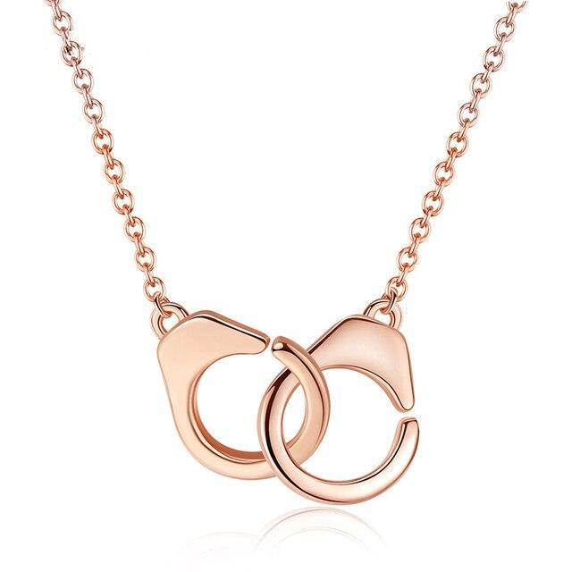 d10202635cb81 Aliexpress.com : Buy JiShu S925 Sterling Silver Handcuff Pendant & Necklace  For Women 18K Rose Gold Chain Handcuff Necklace White Menottes Wholesale ...