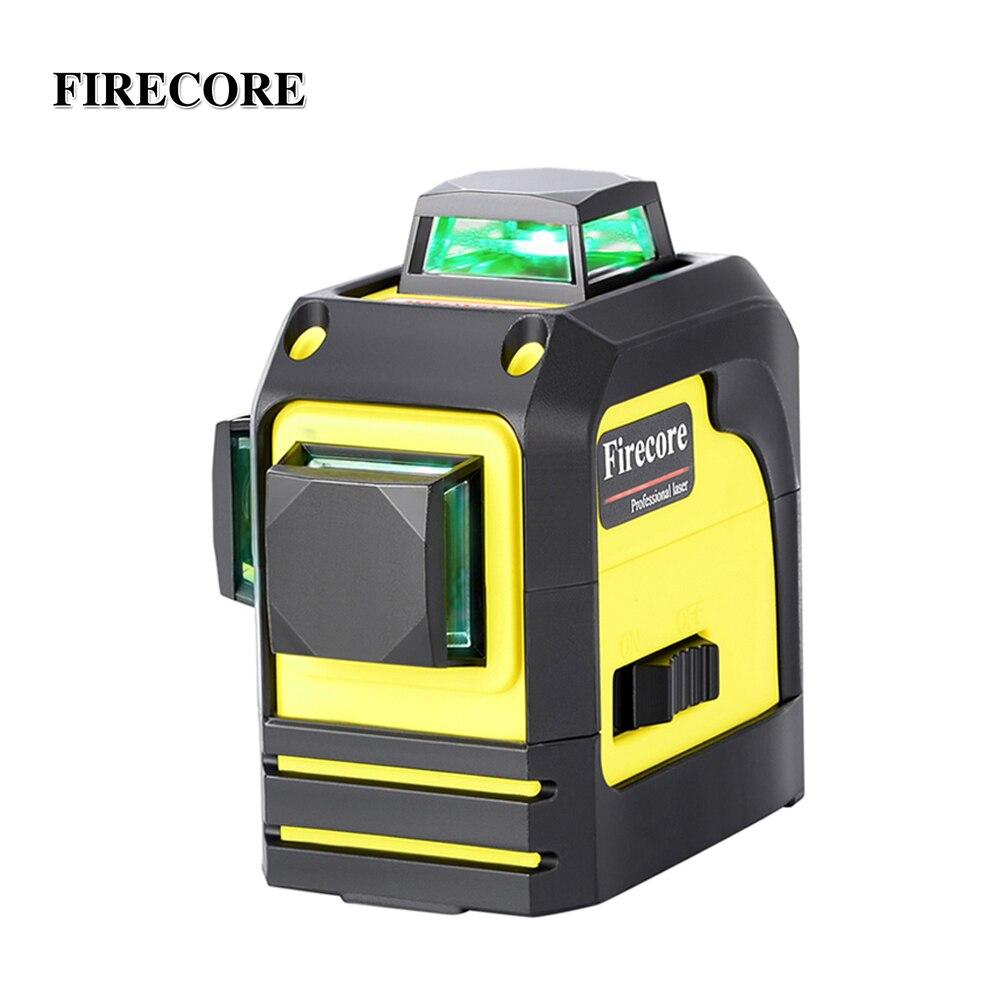 FIRECORE 3D F93TG 12 lignes Laser vert niveau auto-nivelant 360 croix horizontale et verticale Super puissante ligne de faisceau Laser vert