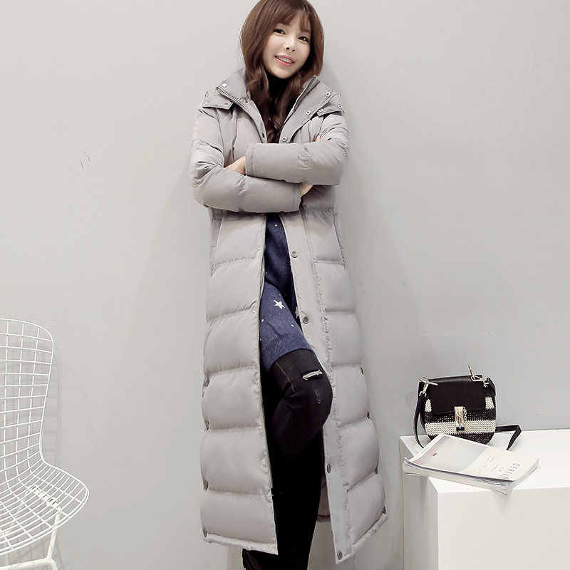 1bf48023f Women's Down Jacket X-Long Black Parka Thicken Winter Jacket Women Hooded  Manteau Femme White Duck Down Parkas Coat Women C3756