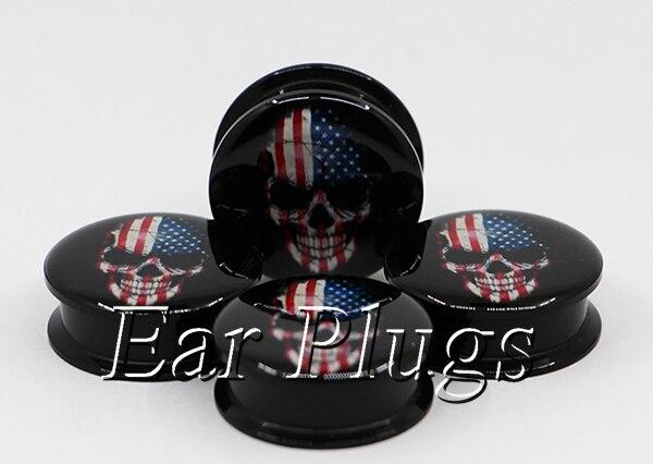 1 pair American skull ear plug gauges tunnel acrylic screw flesh tunnel body piercing jewelry PAP0477