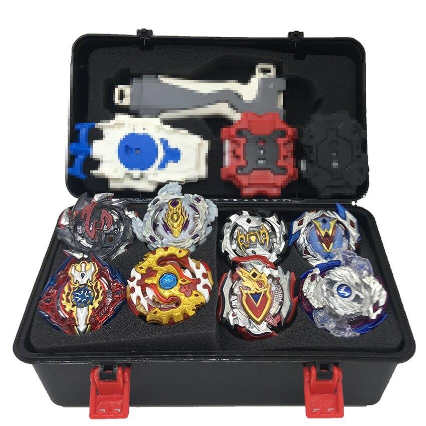 1 set 7 estilo Kai Watch Land B111 B113 de fusión metálica 4D con 4 lanzador Kai Watch Land Spinning Top, regalo de Navidad para los niños Juguetes