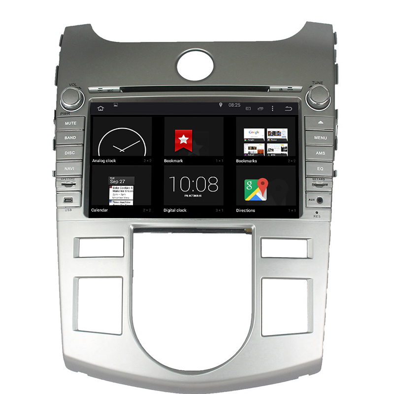 For 2 Din Capacitive android 5.1 4-core multi-touch screen Kia K2 Rio 2011-2012 car GPS with BT Ipod list gps Wifi Radio SWC