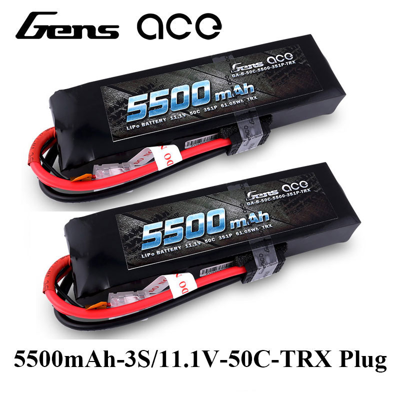 2Pcs Gens ace Lipo Battery 11.1V 50C-100C 5500mAh Lipo 3S Battery Pack TRX Plug 1/8 RC Car for Traxxas ARRMA Axial HPI Edition gens ace lipo battery 11 1v 5000mah lipo 3s 45c rc battery pack deans plug for mikado logo500 align t rex550 600 gaui x5 rc car