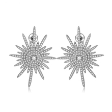 Charm Engagement Zirconia Cluster Snow Flake Stud Earrings With Silver Needle Crystal Bridal Wedding Jewelry