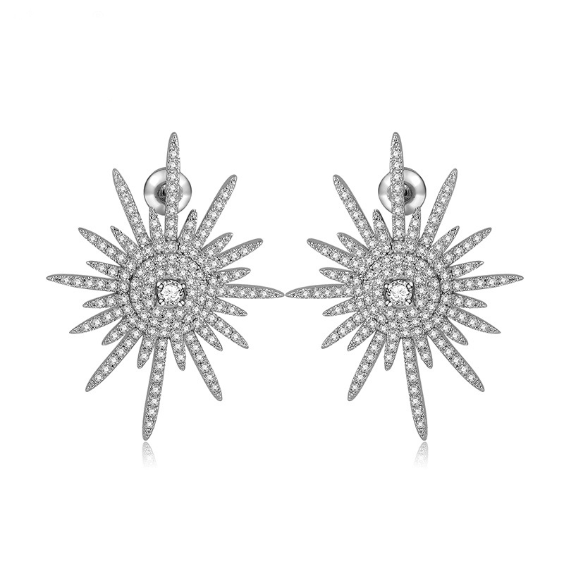 Charm Engagement Zirconia Cluster Snow Flake Stud font b Earrings b font With Silver Needle Crystal