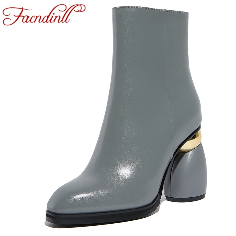 FACNDINLL genuine leather ankle boots for women shoes new fashion sexy high heels round toe shoes woman dress party riding boots riding boots chunky heels platform faux pu leather round toe mid calf boots fashion cross straps 2017 new hot woman shoes