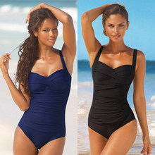 Plus Size One Piece Swimsuit Women Swimwear Solid Monokini Maillot De Bain Femme Bodysuit Female Bathing Suit Black Blue(China)