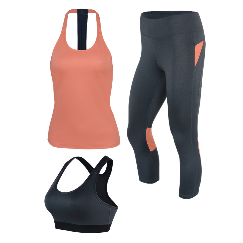 2017 New Classical Three Pieces Set Women Yoga Set Vest+Sport Bra+Leggings Breathable Fitness Gym Clothes Sportswear Back Design