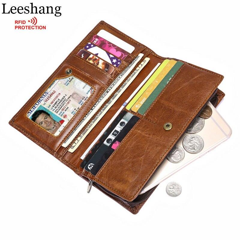 Leeshang RFID férfi pénztárcák Valódi pénztárcák Többfunkciós hitelkártya tartó Vintage üzleti férfi pénztárca mobiltelefon táska