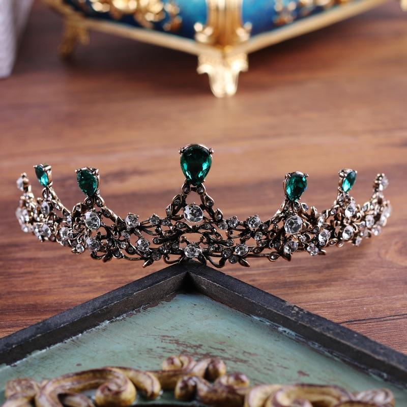 European Green Crystal Tiaras Vintage Black Rhinestone Pageant Crowns Baroque Wedding Hair Accessories Bride Headwear de noiva