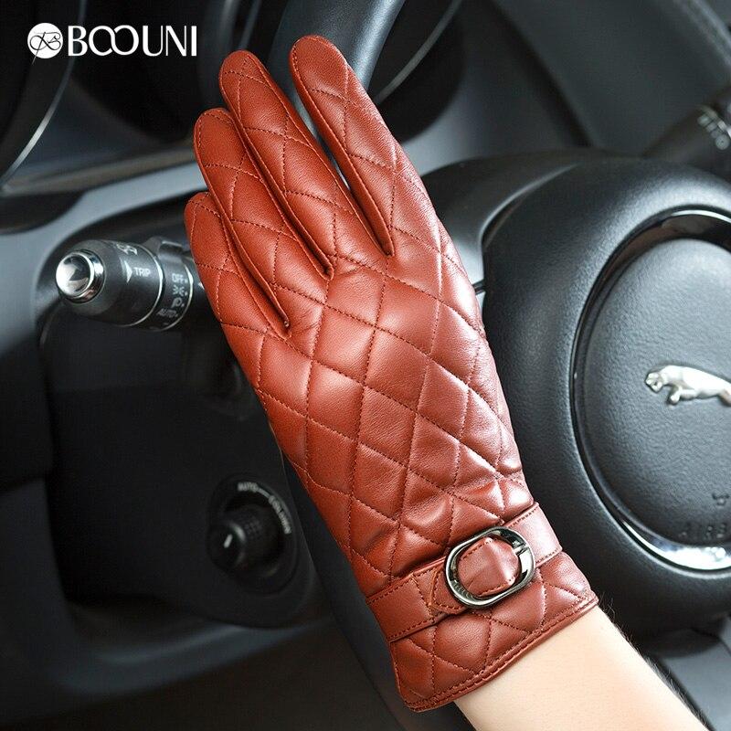 BOOUNI 정품 가죽 장갑 여성 패션 격자 무늬 진짜 양피 - 의류 액세서리 - 사진 4
