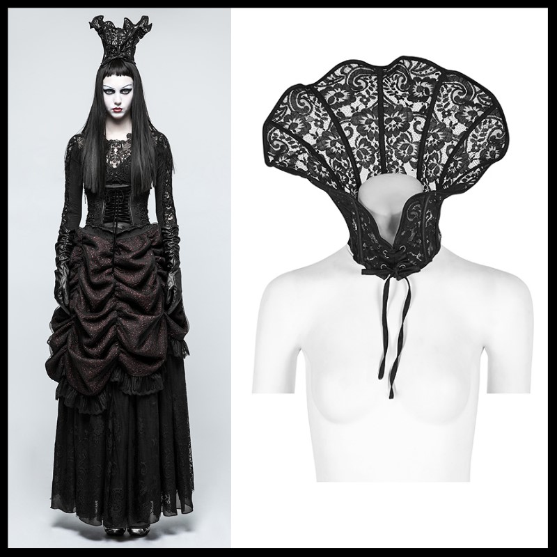PUNK RAVE Gothic Halloween Wraps Custome Palace Queen Double Use Scarves Steampunk Lace Cosplay Clothes Accessories