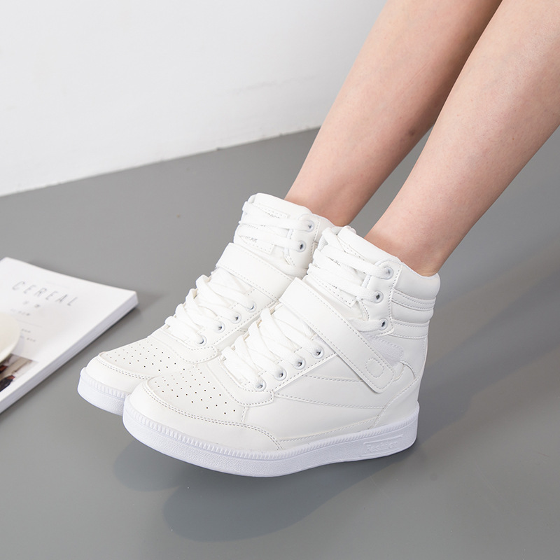 SWYIVY Woman Vulcanize Sneakers Platform White Shoes 2018 Autumn Inceased Internal Wedge Casual Shoes Lady White
