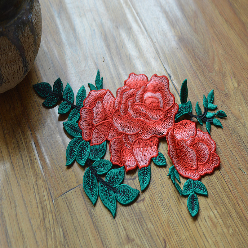 free shipping (1pc/lot)orange flower green leaf patches Wedding Bridal Embroidery Lace patch Sewing Lace Applique 201682112