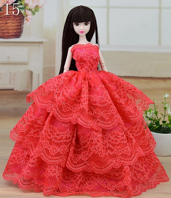 Fashion Handmade Doll Clothes Red Evening Wedding Dress Party