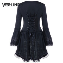 VESTLINDA Gothic Style Autumn Blouse Women Halloween Sweetheart Neck Long Sleeve Lace Up Top Blusas Fashion Black Long Blouses
