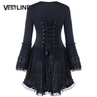VESTLINDA Gothic Style Autumn Blouse Women Halloween Sweetheart Neck Long Sleeve Lace Up Top Blusas Fashion