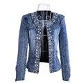2016 Novas Jaquetas Jeans Magros Casacos Casacos Clássica Strass Lantejoulas Jaquetas Retrô Mulheres Coats Com Rebites Feminino Jaquetas