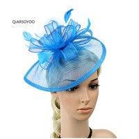 Nouveau Bleu Jaune Rose Pourpre Plume Sinamay Cheveux Bandes De Mariée Chapeaux De Mariage Parti Floral Cheveux Fascinateur Chapeau Bandeau Pour Les Femmes