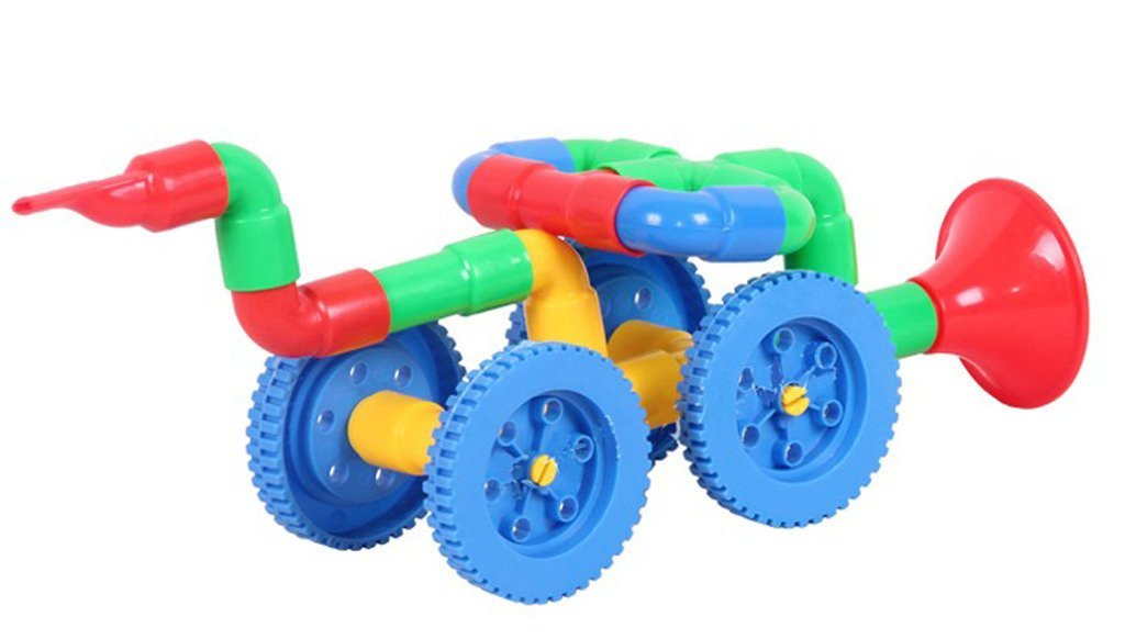 JingQ Pipeline Car Construction Assembling Toy DIY Puzzle Educational Jigsaw Gift for Baby Children Kids S13474 3d puzzle wooden toy jigsaw for children