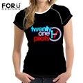 Veintiún pilotos forudesigns moda t-shirt mujeres harajuku tela de alta calidad de moda más el tamaño de impresión 3d t shirt para la mujer