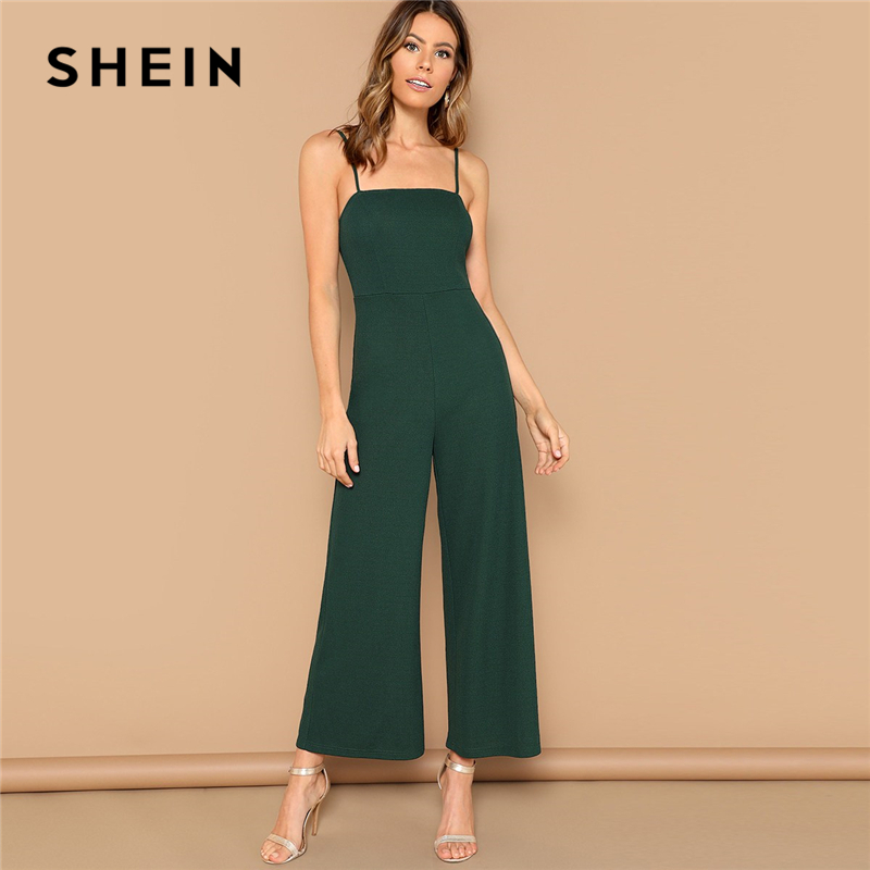 SHEIN Green Solid Wide Leg Cami Jumpsuit Women Mid Waist Full Length Spaghetti Strap Skinny Summer High Street Sexy Jumpsuits