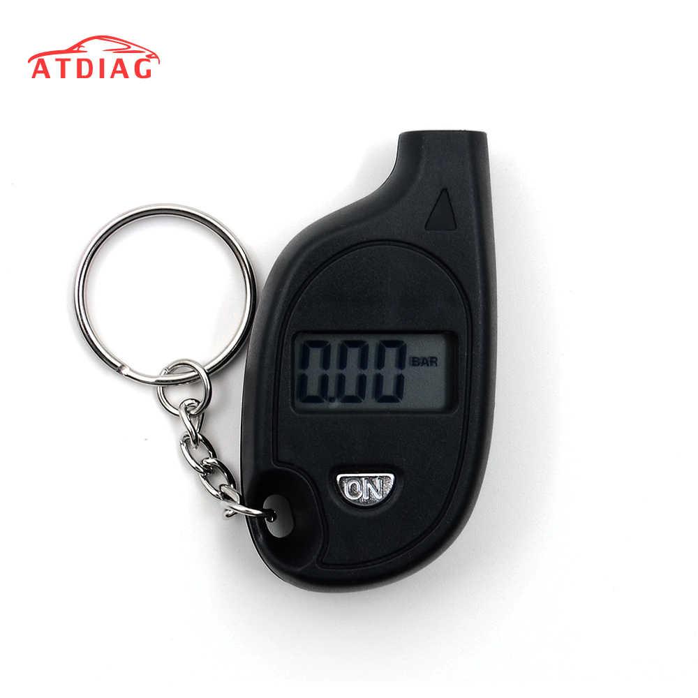 جهاز قياس ضغط الهواء في إطارات المفاتيح الرقمية بشاشة LCD صغيرة للسيارات والدراجات النارية والسيارات