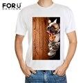 Forudesigns hombres con estilo tops tee perro encantador cat 3d camiseta divertida camiseta de la historieta de la impresión del hombre transpirable verano tees camisetas