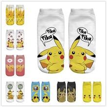 Kawaii/носки Пикачу Харадзюку с покемонами женские короткие носки с 3D принтом из мультфильма новые повседневные носки
