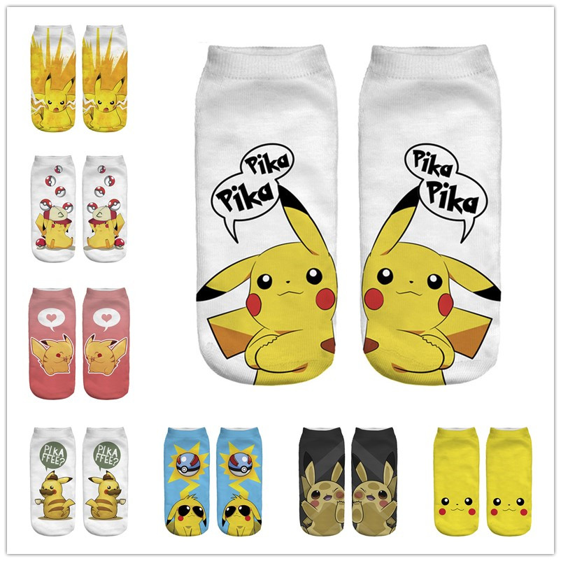Kawaii Harajuku Pokemon Pikachu Socks 3D Printed Cartoon Women's Low Cut Ankle Socks Novelty Casual Socks